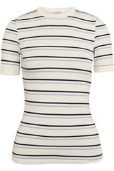 Frame Striped Ribbed Stretch Jersey T Shirt White