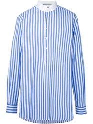 Andrea Pompilio Oversized Striped Shirt Men Cotton One Size Blue