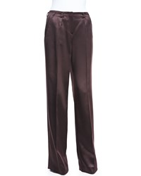 Jason Wu Satin Wide Leg Trousers Eggplant