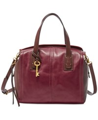 Fossil Emma Leather Satchel Red Multi