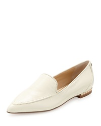 Ivanka Trump Zariner Pointed Toe Leather Flat Ivory