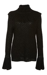 Co Shimmer Ruffle Sweater Black
