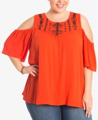 Eyeshadow Trendy Plus Size Embroidered Cold Shoulder Top