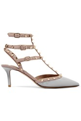 Valentino Rockstud Patent Leather Pumps Light Gray