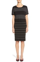 Women's Matty M Stripe Mock Two Piece Sweater Dress Charcoal