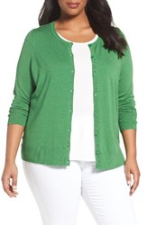 Sejour Plus Size Women's Crewneck Cardigan Green Strip
