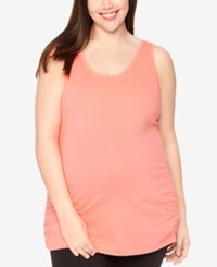 Motherhood Maternity Plus Size Ruched Tank Top Coral