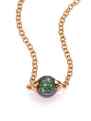 Pomellato M'ama Non M'ama Amethyst Tsavorite And 18K Rose Gold Pendant Necklace Rose Gold Amethyst
