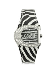 Just Cavalli Logo Jc 2H Silver Dial Black Strap Women's Watch