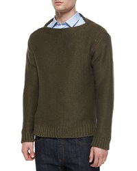Valentino Chunky Knit Crewneck Sweater Brown
