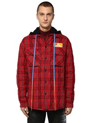 Off White Oversize Hooded Flannel Shirt Jacket Red