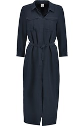 Iris And Ink Military Pocket Silk Shirt Dress Blue