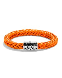 Men's Classic Chain Silver Leather Bracelet Orange John Hardy
