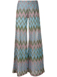 M Missoni Zig Zag Knit Trousers Blue