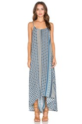 Pink Stitch Resort Maxi Dress Blue