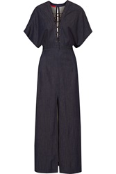 Tamara Mellon Lace Up Stretch Denim Maxi Dress
