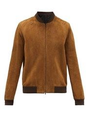 The Row Curt Suede Bomber Jacket Brown