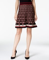 Studio M Geo Print Flared Sweater Skirt