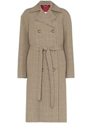 Magda Butrym Hammond Check Belted Coat Neutrals