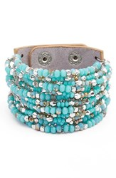 Cristabelle Women's Beaded Leather Cuff Turquoise Bronze Silver