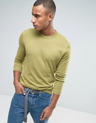 Asos Crew Neck Jumper In Green Cotton Faded Olive