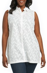 Foxcroft Plus Size Women's Ariah Palm Jacquard Sleeveless Shirt White