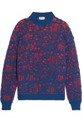 Acne Studios Maive Stitch Oversized Wool Blend Sweater Navy