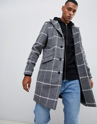Only And Sons Stand Collar Wool Overcoat In Grid Check Grey Melange