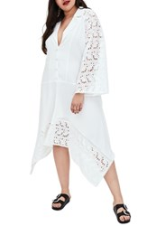 Elvi Plus Size Kicha Broderie Asymmetrical Dress White