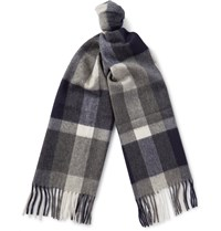 J.Crew Checked Cashmere Scarf Blue
