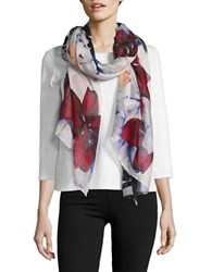 Lord And Taylor Floral Printed Scarf White