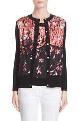 St. John Women's Collection Black Flamingo Degrade Floral Print Cardigan