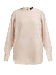 Ann Demeulemeester Raw Trim Neck Cotton And Cashmere Blouse Light Pink
