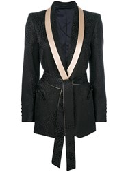 Blaze Milano Belted Tailored Blazer Black