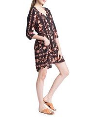 Plenty By Tracy Reese Boxy Tunic Sheath Dress Black Orange