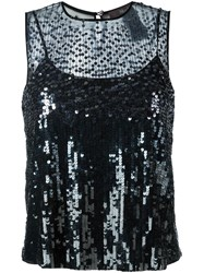 Max Mara Sequin Embellished Blouse Black