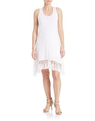 Red Haute Fringed Knit Dress White