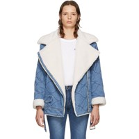 Sjyp Blue Denim Rider Sherpa Moto Jacket