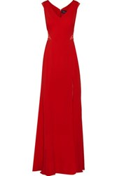 Marchesa Notte Embellished Lace Paneled Stretch Cady Gown Red