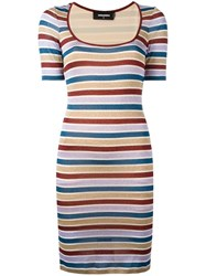 Dsquared2 Striped Fitted Dress Purple