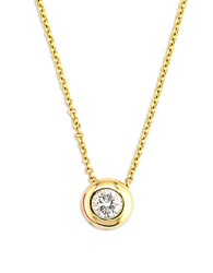 Effy D Oro 14 Kt Gold Diamond Bezel Pendant Necklace