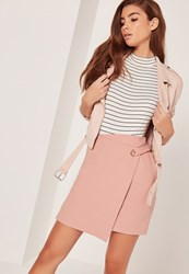 Missguided Eyelet Aysmmetric Wrap Skirt Pink Pink