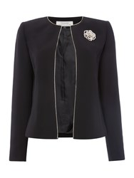 Tahari By Arthur S. Levine Asl Black Blazer With Gold Flower Broach Black