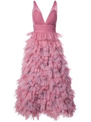 Marchesa Notte Ruffled A Line Gown Pink And Purple
