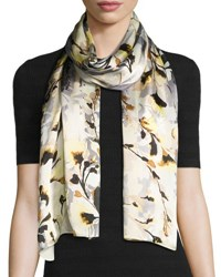 Vince Camuto Foliage And Bloom Silk Scarf Peach