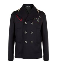 Valentino Embroidered Patch Pea Coat Navy