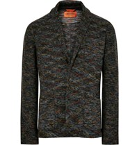 Missoni Unstructured Knitted Wool Blazer Charcoal