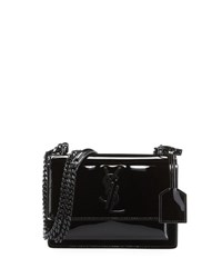 Saint Laurent Sunset Small Patent Chain Shoulder Bag Black