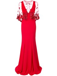 Marchesa Notte Fishtail Embellished Cape Dress Red
