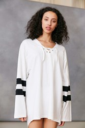 Silence And Noise Oversized Lace Up Jersey Tee White